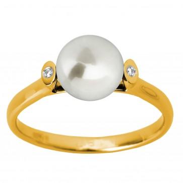 Каблучка з перлиною та діамантами 061-1275