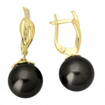 Сережки з перлиною та діамантами 062-0659