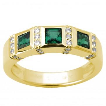 Каблучка з діамантами та кольоровим камінням 081-0599