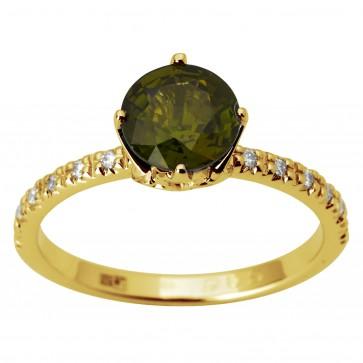 Каблучка з діамантами та кольоровим камінням 081-1842