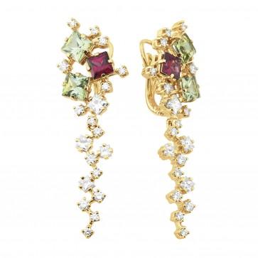 Сережки з діамантами та кольоровим камінням 082-0984