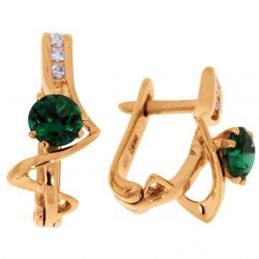 Сережки з діамантами та кольоровим камінням 182-0564