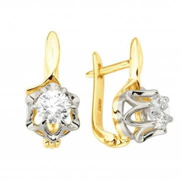 Сережки з 1 діамантом 322-0193