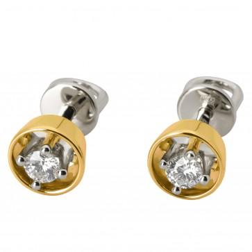 Сережки з 1 діамантом 322-0776