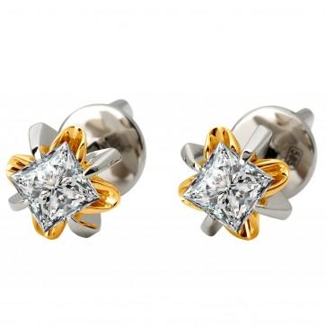 Серьги с 1 бриллиантом 322-1084.12