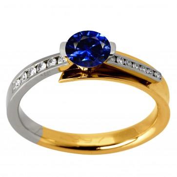 Каблучка з діамантами та кольоровим камінням 381-1130