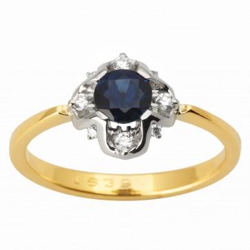 Каблучка з діамантами та кольоровим камінням 381-1761