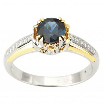 Каблучка з діамантами та кольоровим камінням 381-1896