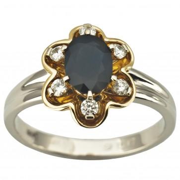 Каблучка з діамантами та кольоровим камінням 381-1944