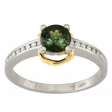 Каблучка з діамантами та кольоровим камінням 381-1981