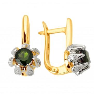 Сережки з діамантами та кольоровим камінням 382-1058