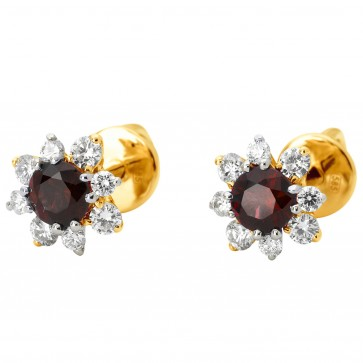 Сережки з діамантами та кольоровим камінням 382-1107