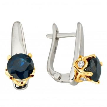 Сережки з діамантами та кольоровим камінням 382-1187