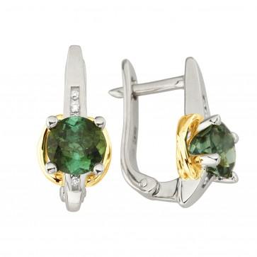Сережки з діамантами та кольоровим камінням 382-1227