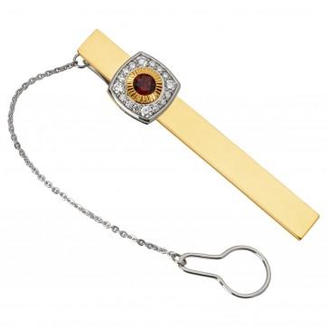 Затискач для краватки з діамантами та кольоровим камінням 385-0061