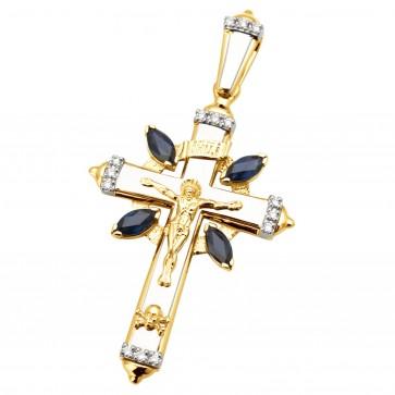 Підвіска з діамантами та кольоровим камінням 389-0640