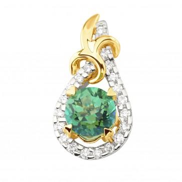 Підвіска з діамантами та кольоровим камінням 389-0871