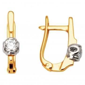 Сережки з 1 діамантом 822-0938