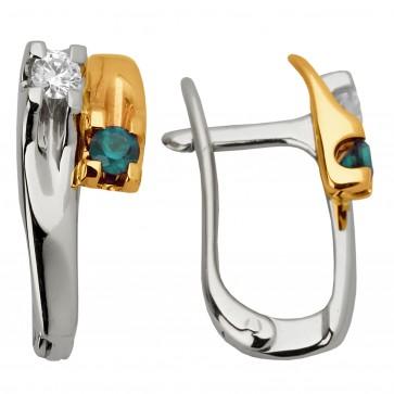 Сережки з діамантами та кольоровим камінням 882-0595
