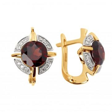 Сережки з діамантами та кольоровим камінням 882-0782