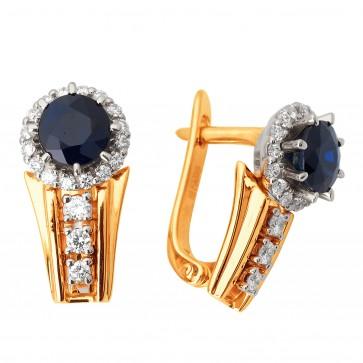 Сережки з діамантами та кольоровим камінням 882-0940