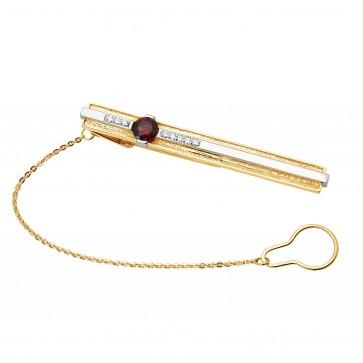 Затискач для краватки з діамантами та кольоровим камінням 885-0062