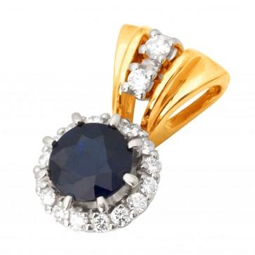 Підвіска з діамантами та кольоровим камінням 889-0647