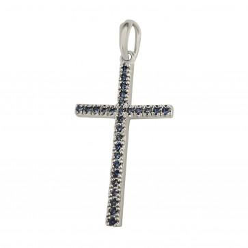 Хрест з кольоровим камінням 909-0167
