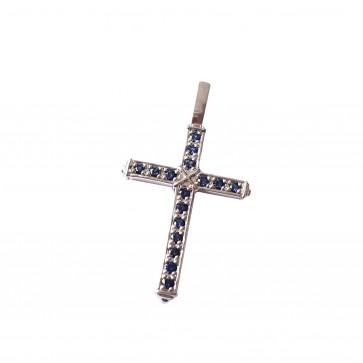 Хрест з кольоровим камінням 909-4002