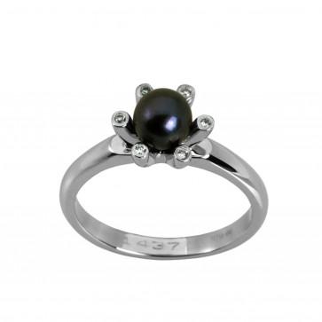 Каблучка з перлиною та діамантами 961-0322
