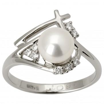 Каблучка з перлиною та діамантами 961-1298