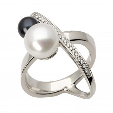 Каблучка з перлиною та діамантами 961-1489