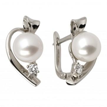 Сережки з перлиною та діамантами 962-0765