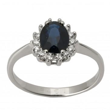 Каблучка з діамантами та кольоровим камінням 981-0052