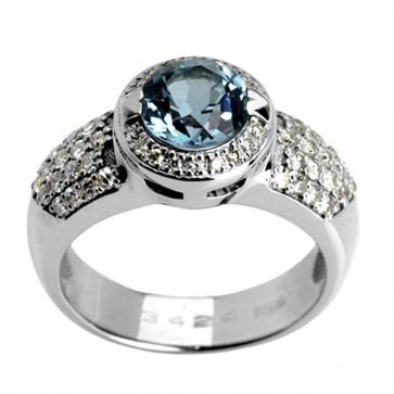 Каблучка з діамантами та кольоровим камінням 981-0520