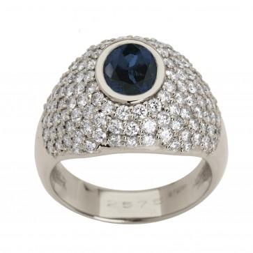 Каблучка з діамантами та кольоровим камінням 981-0717