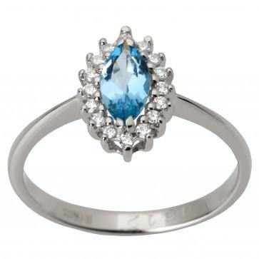 Каблучка з діамантами та кольоровим камінням 981-1372