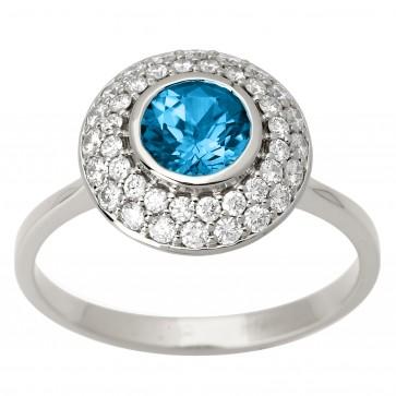 Каблучка з діамантами та кольоровим камінням 981-1595
