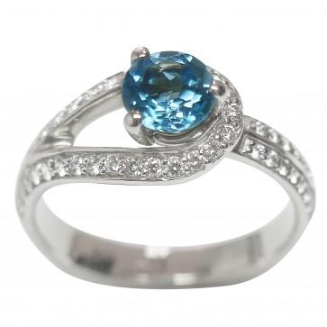 Каблучка з діамантами та кольоровим камінням 981-1617