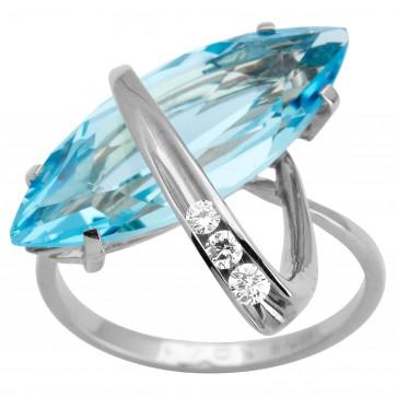 Каблучка з діамантами та кольоровим камінням 981-1621