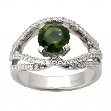 Каблучка з діамантами та кольоровим камінням 981-1651