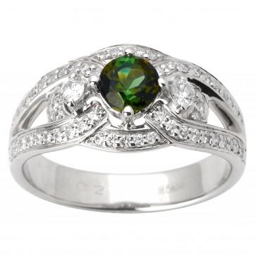 Каблучка з діамантами та кольоровим камінням 981-1701