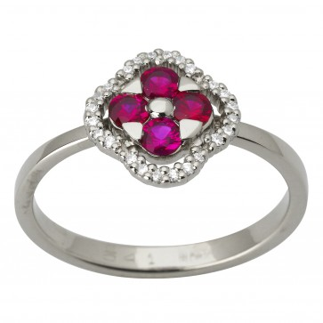 Каблучка з діамантами та кольоровим камінням 981-1702
