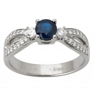 Каблучка з діамантами та кольоровим камінням 981-1704