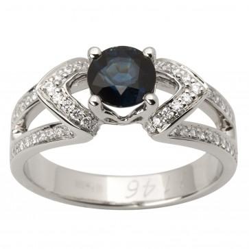 Каблучка з діамантами та кольоровим камінням 981-1736