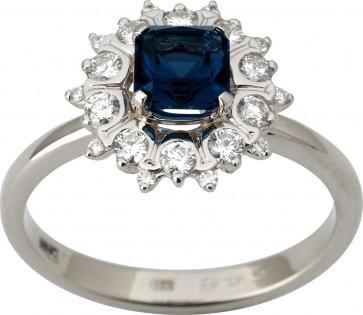 Каблучка з діамантами та кольоровим камінням 981-1820