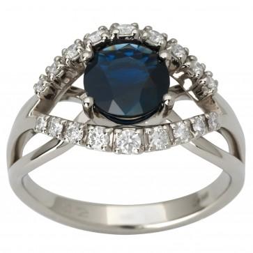 Каблучка з діамантами та кольоровим камінням 981-1845