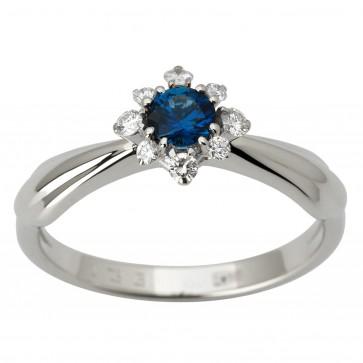 Каблучка з діамантами та кольоровим камінням 981-1850