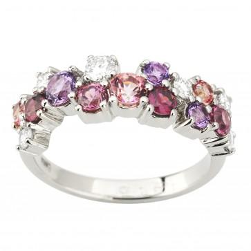Каблучка з діамантами та кольоровим камінням 981-1962