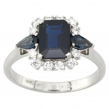 Каблучка з діамантами та кольоровим камінням 981-1982